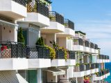 Apartments on the seafront in the Costa del Sol, Andalusia, Spain